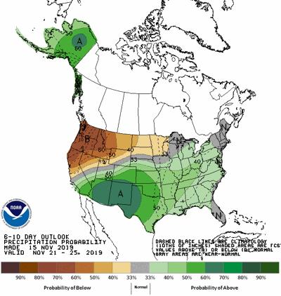 The 6-10 day precipitation forecast