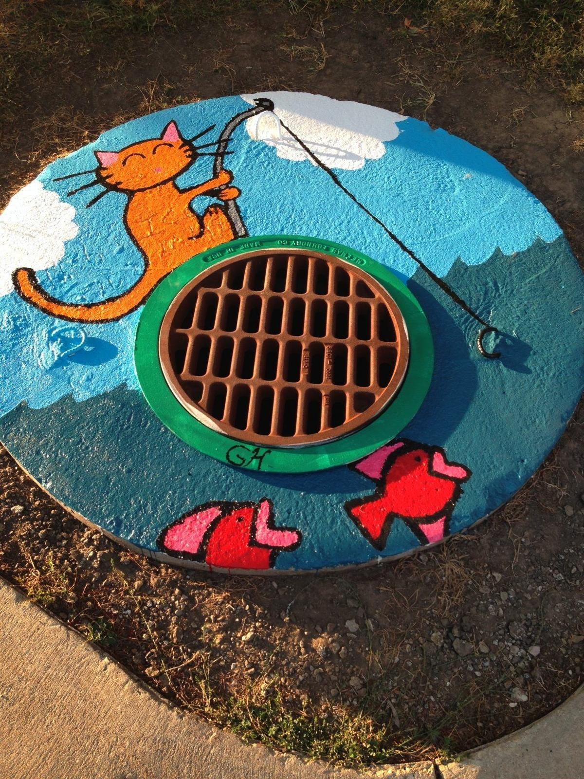 Storm drain artwork sends a clear message: Rainwater only