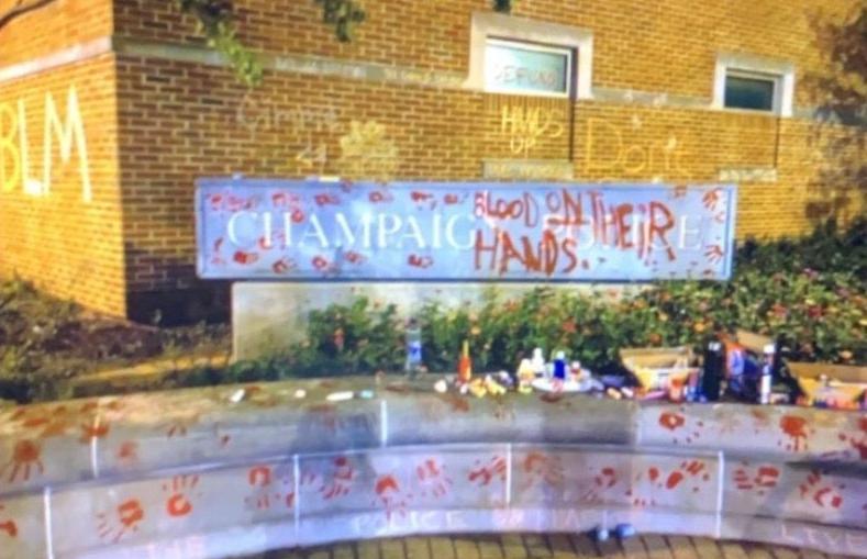 Champaign police department graffiti