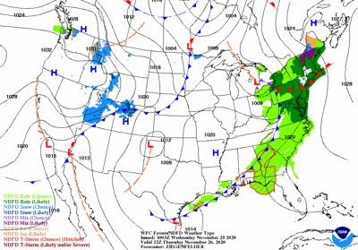 Thanksgiving Day Weather Map