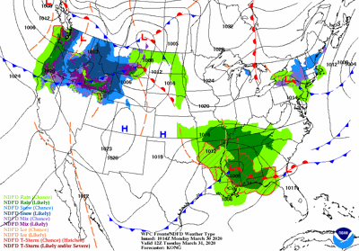 Tuesday's weather map