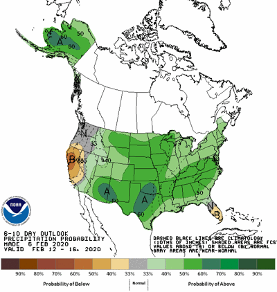The 6-10 day precipitation forecast