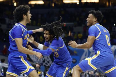 UCLA celebrating Elite Eight win