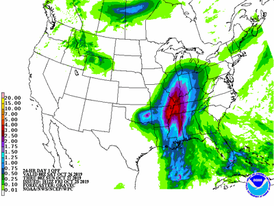 Rainfall across the eastern through southern Corn Belt through late Saturday.