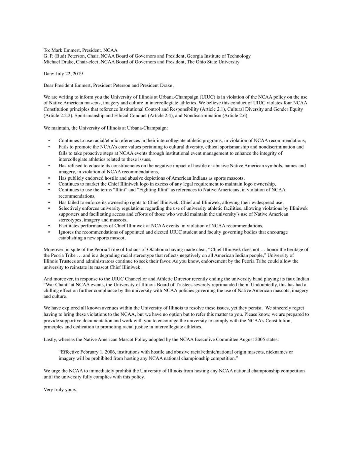 Faculty letter to NCAA
