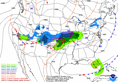 Late Thursday's weather forecast map
