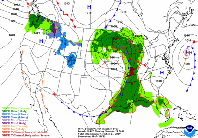 Monday, mid-day weather map
