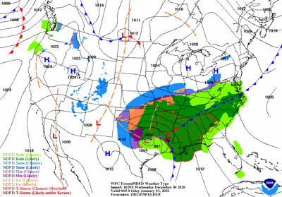 New Year's Eve Weather Map