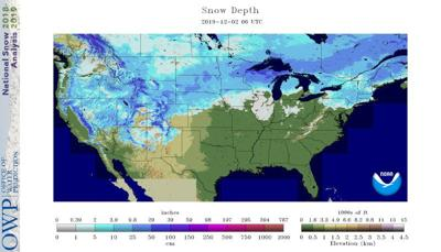 Monday early-morning snow depths include 6 inches in Minneapolis-St. Paul and 3 inches in Grand Rapids, Mich.