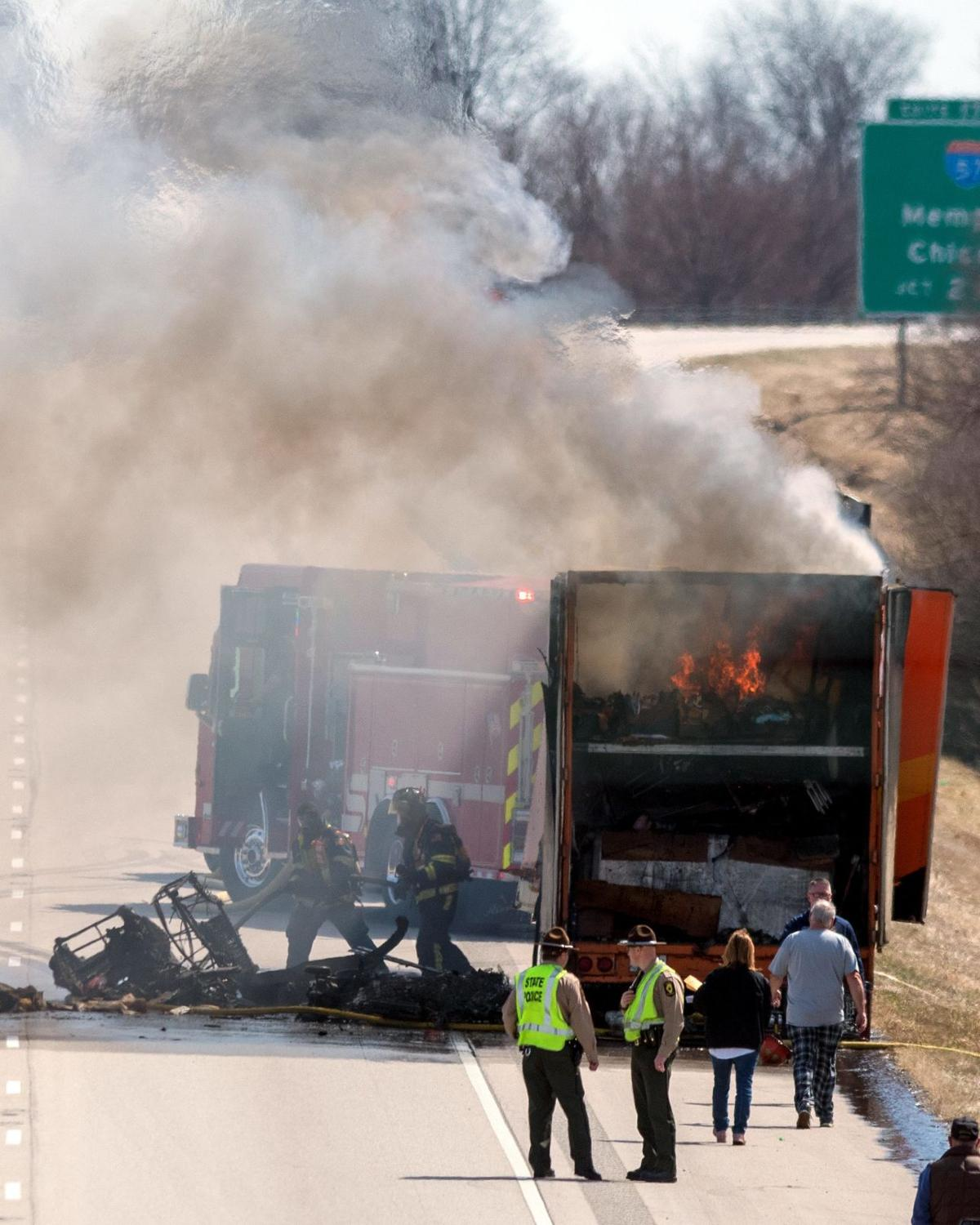 UPDATE: No one injured in I-74 truck fire, state police say
