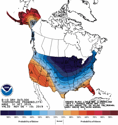 6-10 day temperature forecast Nov. 6 - 10, 2019