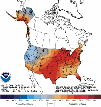 The 6-10 day temperature outlook
