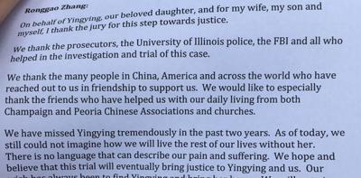 Slain UI scholar's family: 'Emotional distress has been ... unbearable'