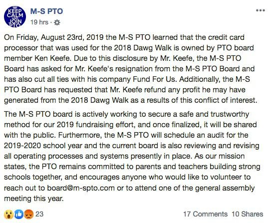 M-S PTO Keefe resign FB post