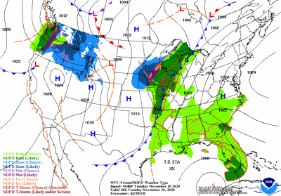 Mid-day Tuesday weather map