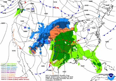 Saturday's weather map