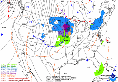 Thursday's weather map