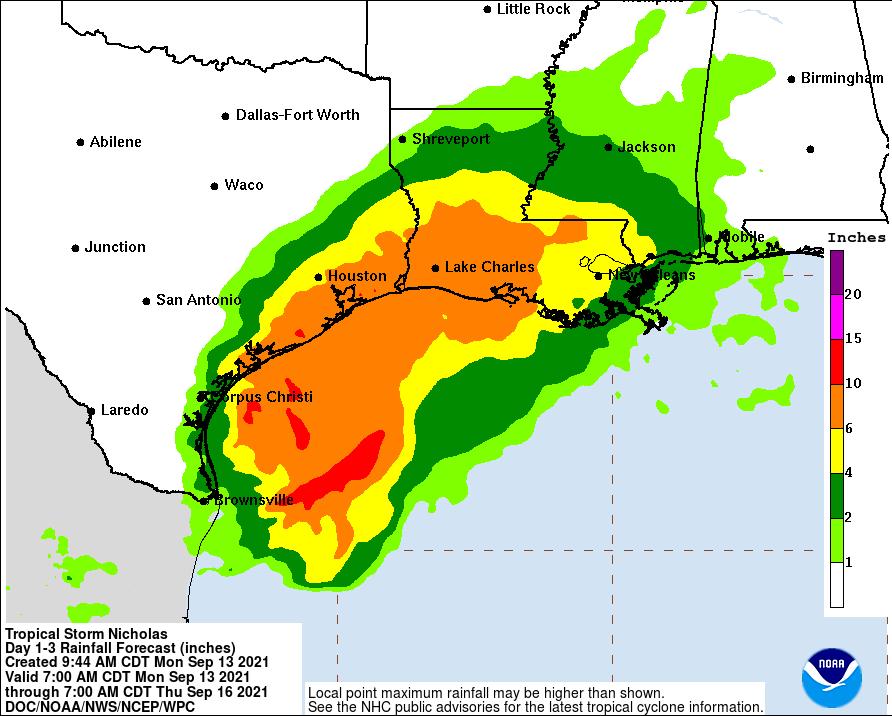 TS Nicholas Rainfall