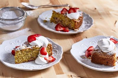 Strawberry and Pistachio Olive Oil Cake
