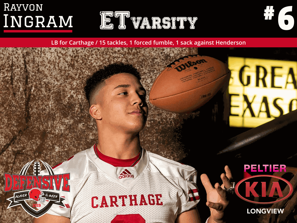 Week 10 2019 Defensive Player of the Week: Rayvon Ingram, Carthage