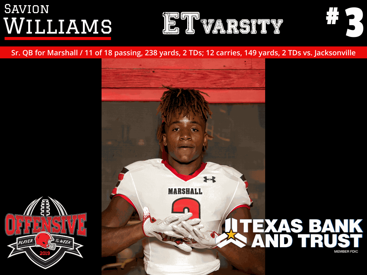 Week 8 2019 Offensive Player of the Week: Savion Williams, Marshall
