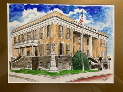 watercolor Marion courthouse painting