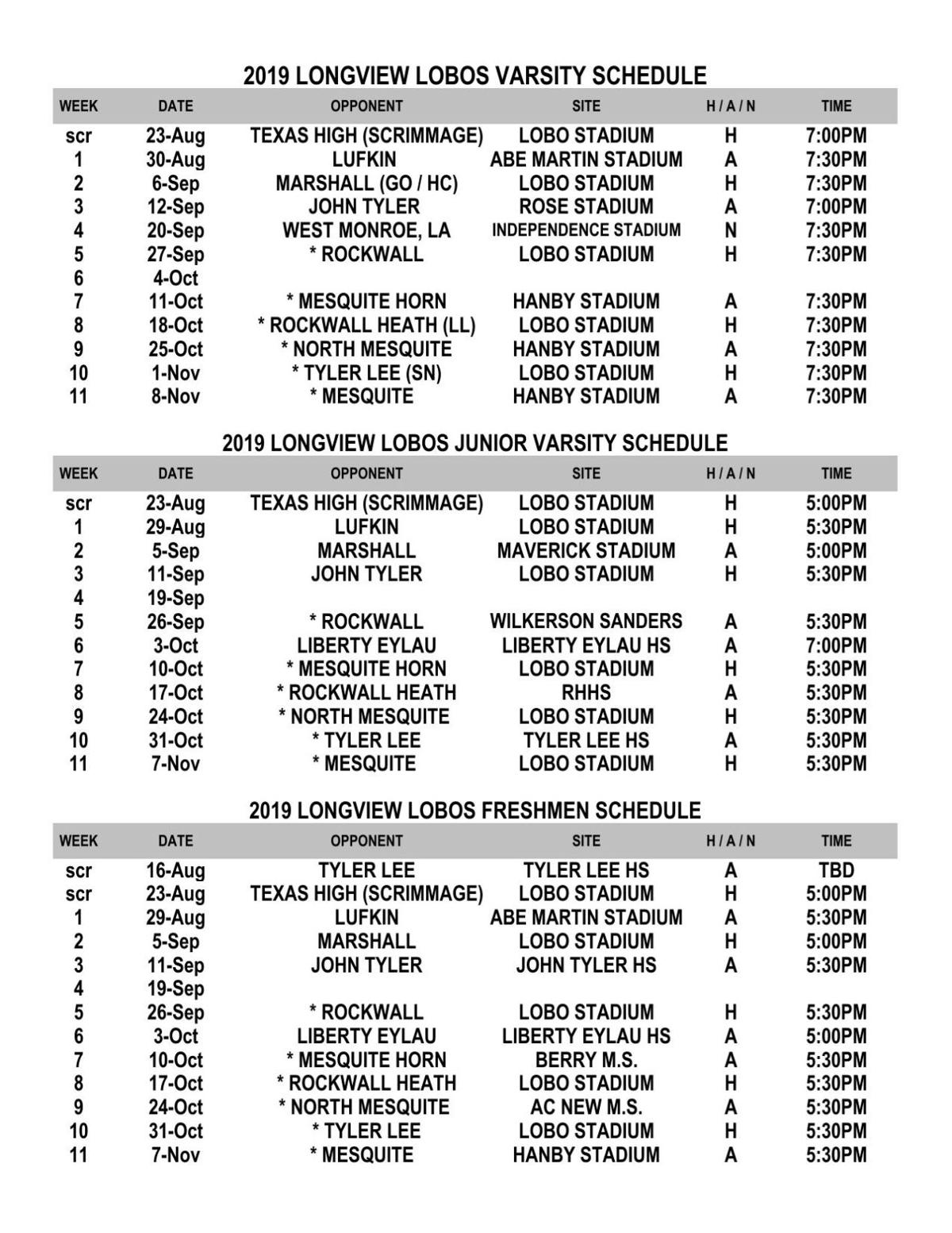 2019 Lobo Football Composite Schedule