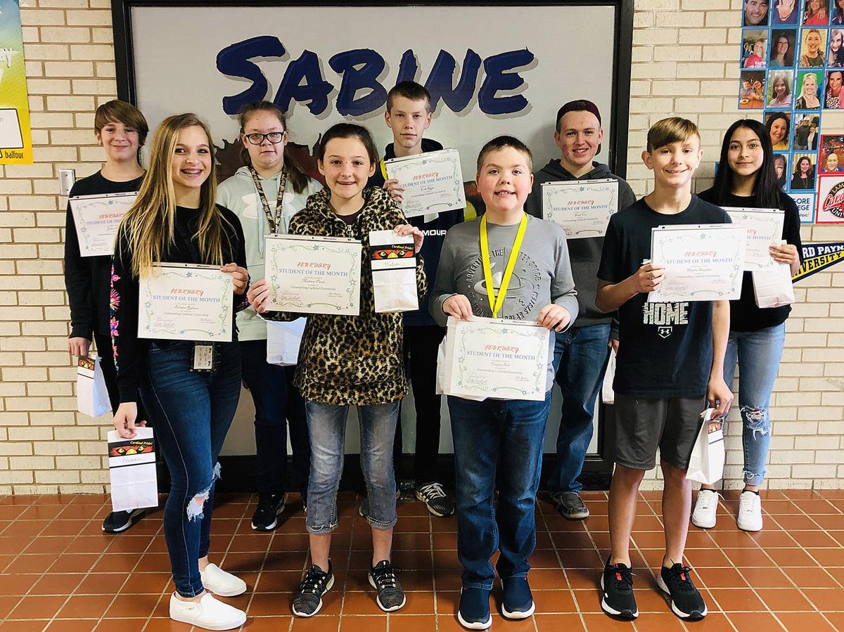Sabine Middle School February students of the month
