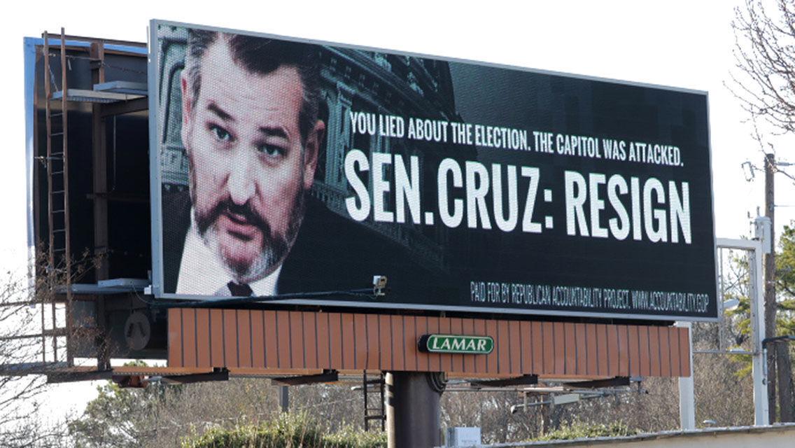 Billboard sign asking Ted Cruz to resign