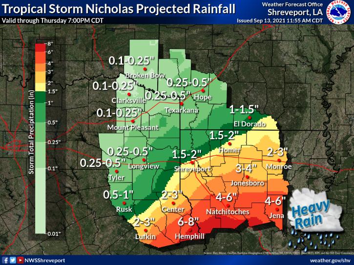 TS Nicholas East Texas Rainfall
