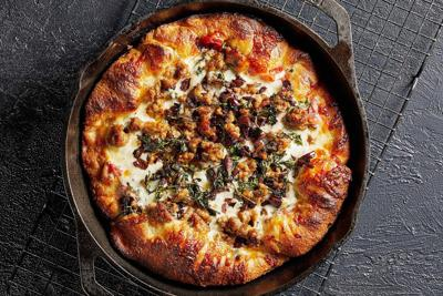 Italian Sausage and Kalamata Olive Cast Iron Skillet Pizza