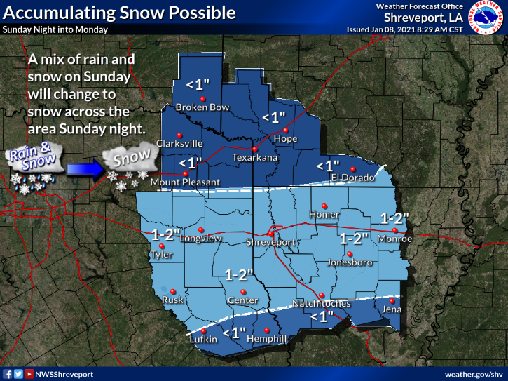 National Weather Service Potential Snowfall map