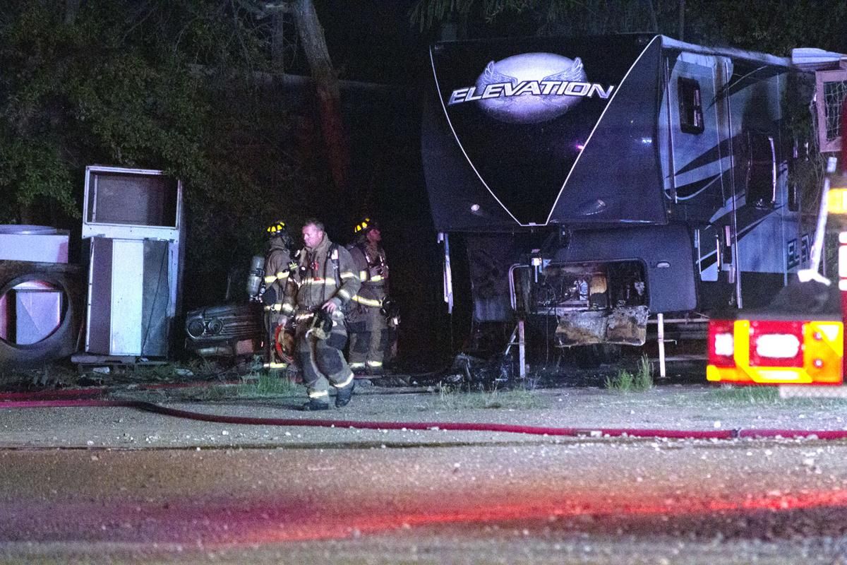 Fire engulfs recreational vehicle; no injuries