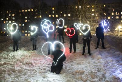 APTOPIX Russia Navalny Flashlight Protest
