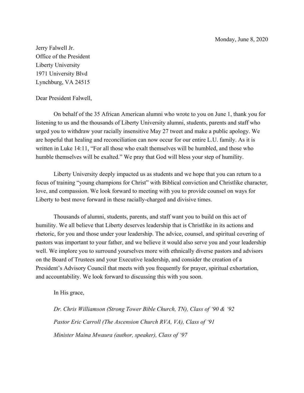 Black alumni of Liberty University respond to Jerry Falwell Jr.'s apology