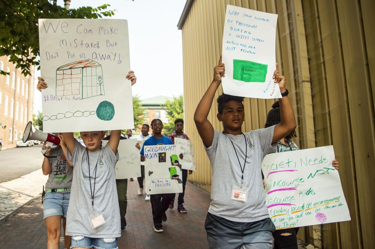 The Listening's Freedom School program march along Jefferson Street