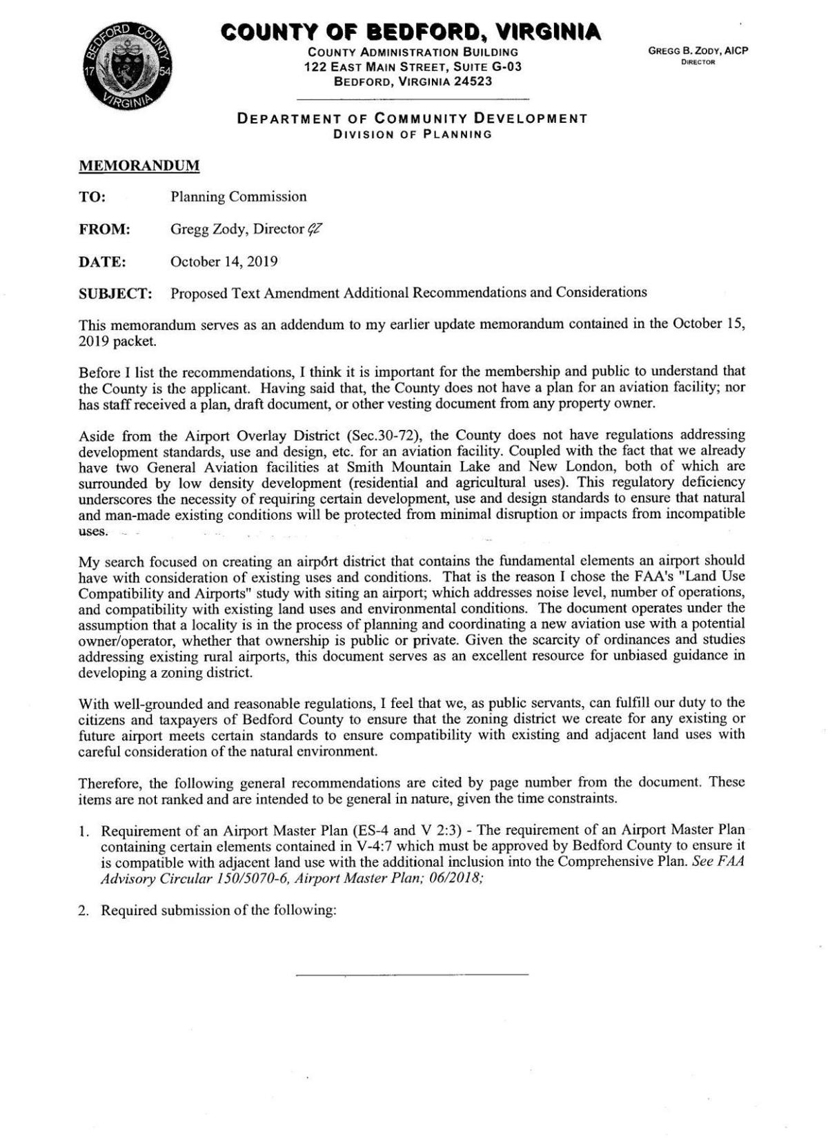 Bedford County Planning Memorandum