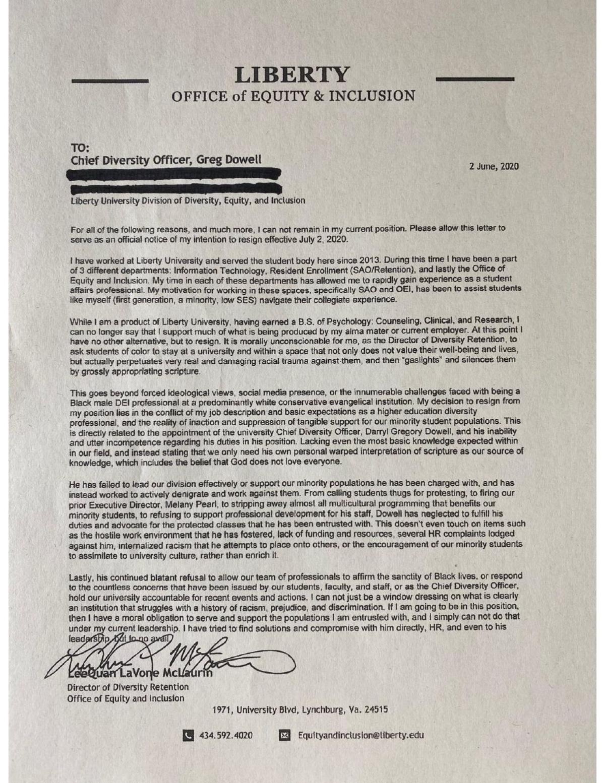 Liberty University employee resignation letter