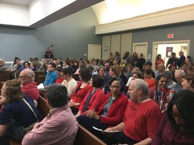 Crowd ready to speak