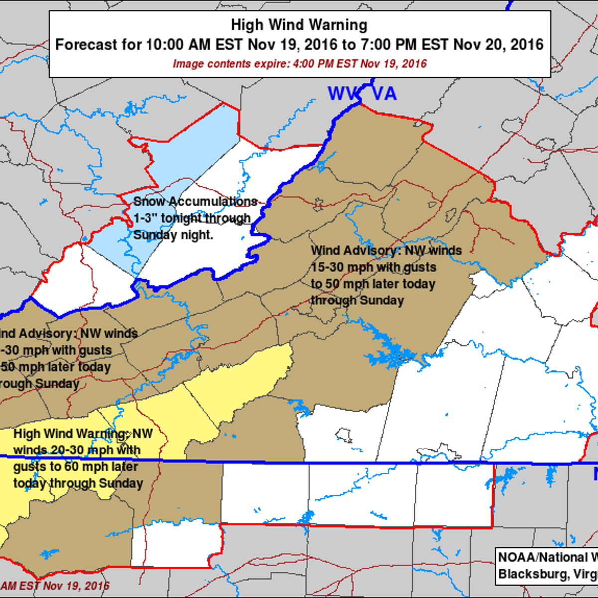 Blog: 50-60 mph wind gusts expected, with a few flakes and