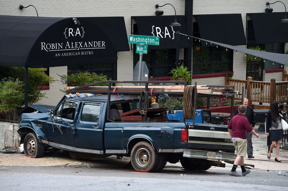 Pickup slams into exterior of downtown lynchburg
