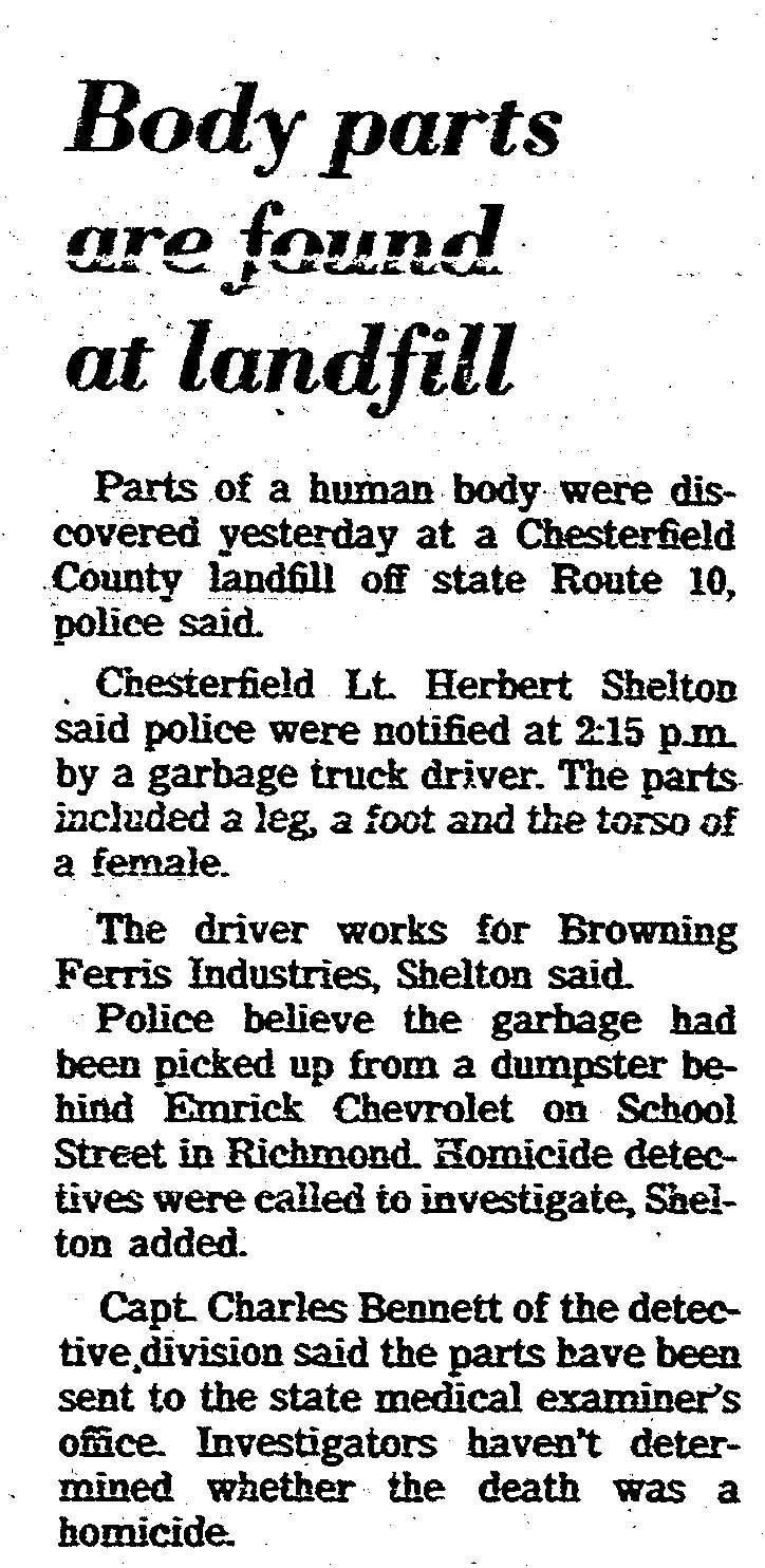 Body parts are found at landfill - Page B4, August 8, 1986