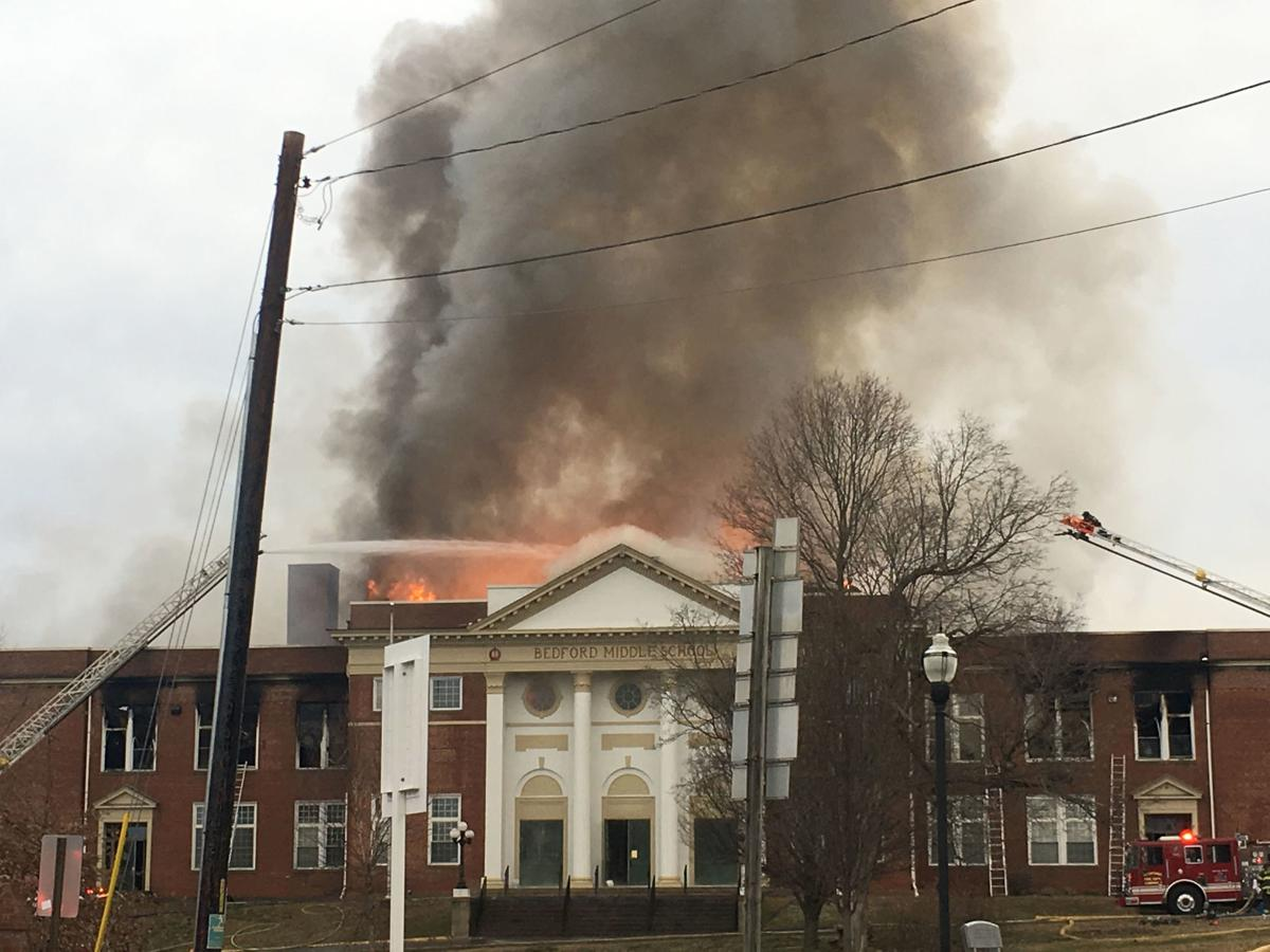 Bedford Middle School fire p6 - Building closeup after apparent tower collapse