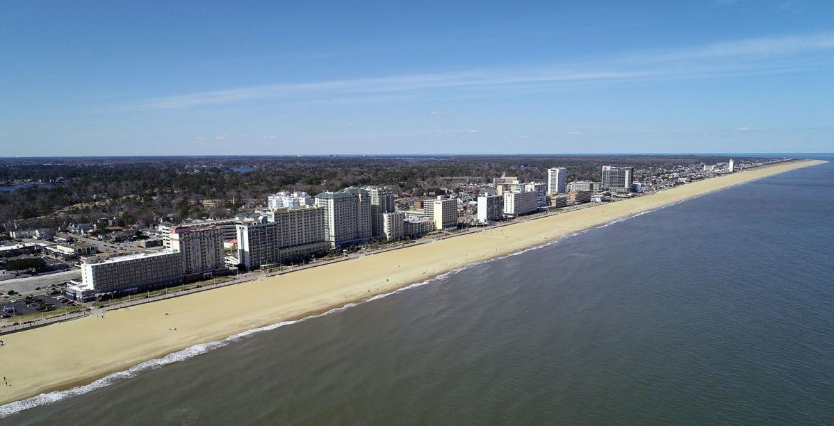 An aerial view of the Virginia Beach Oceanfront north of 32nd St. As seen at 12:30 on Saturday, March 6, 2021, afternoon.