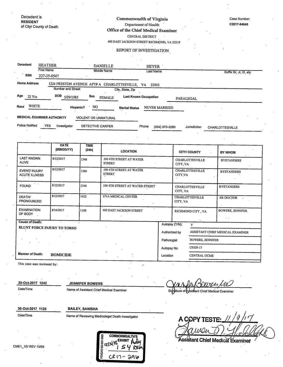 Heather Heyer autopsy report