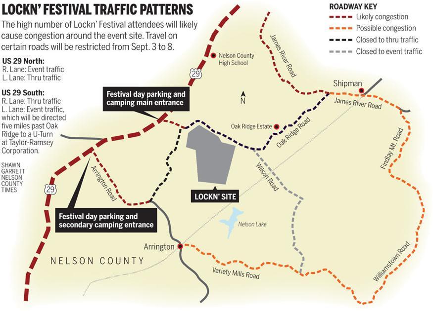 Lockn\' Traffic map 2014 | Nelson News | newsadvance.com