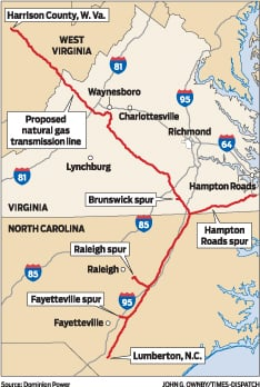proposed dominion pipeline map