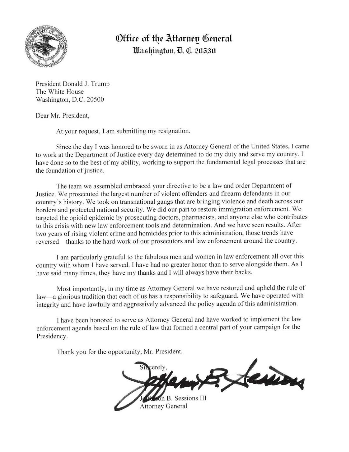 Sessions\' resignation letter | | newsadvance.com
