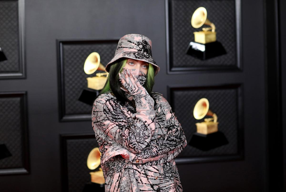 Billie Eilish on the red carpet at the 63rd Annual Grammy Awards at the Los Angeles Convention Center, in downtown Los Angeles on Sunday, March 14, 2021.
