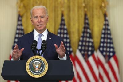 "U.S. President Joe Biden delivers remarks during an East Room event at the White House on Thursday, August 12, 2021 in Washington, D.C. President Biden spoke on ""how his Build Back Better agenda will lower prescription drug prices."""